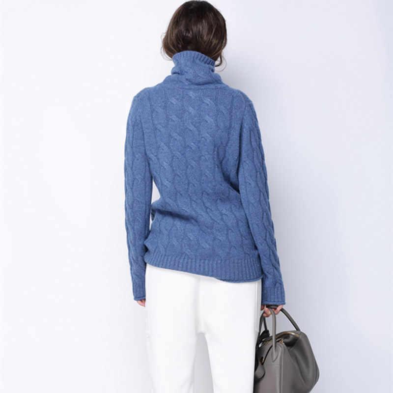 Зимний толстый свитер с высоким воротом для женщин, 100% чистый кашемировый свитер, Женский вязаный джемпер, теплый пуловер