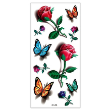2Pcs Hot 3D Tatoo Sticker Body Art Rose Flower Fake Waterproof Temporary Tattoos Stickers Women Stencils Tattoo Sleeve