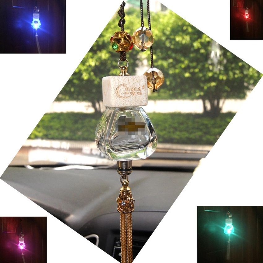 Car perfume pendant Empty bottle RGB led light Car Air Freshener colorful crystal handmade Tassels For BMW E60 E90 F10 E64 E65