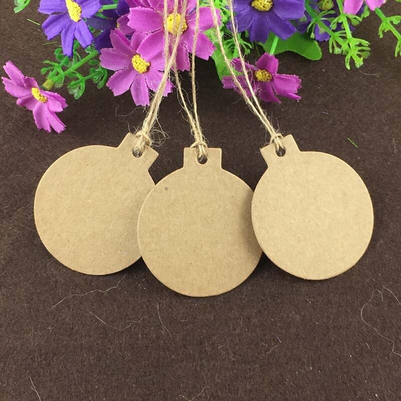 400PCS Kraft Paper Bomb Shape 5.8*5cm Hang Tags+400PCS Hemp Strings Jewelry Head Cards Luggage DIY Handmade Accept Custom Logo