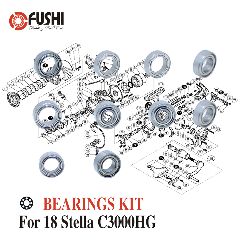Fishing Reel Stainless Steel Ball Bearings Kit For Shimano 14 Stella <font><b>C3000HG</b></font> / 03446 Spinning reels Bearing Kits image
