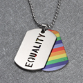 "Stainless Steel Gay Pride Rainbow ""PRIDE"" Dog Tag Rainbow PENDANT Lesbian LGBT Chain Necklace & Pendants For Men Women Collares"