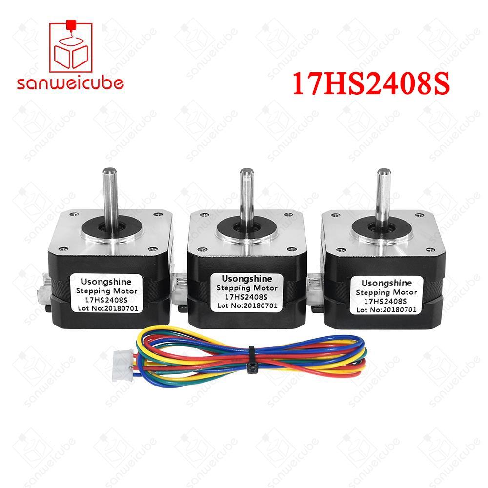 3pcs/lot Stepper Motor Nema 17HS2408S 4-lead Nema 17 42 motor 42BYGH 0.6A CE ROSH ISO CNC Laser and 3D printer motors