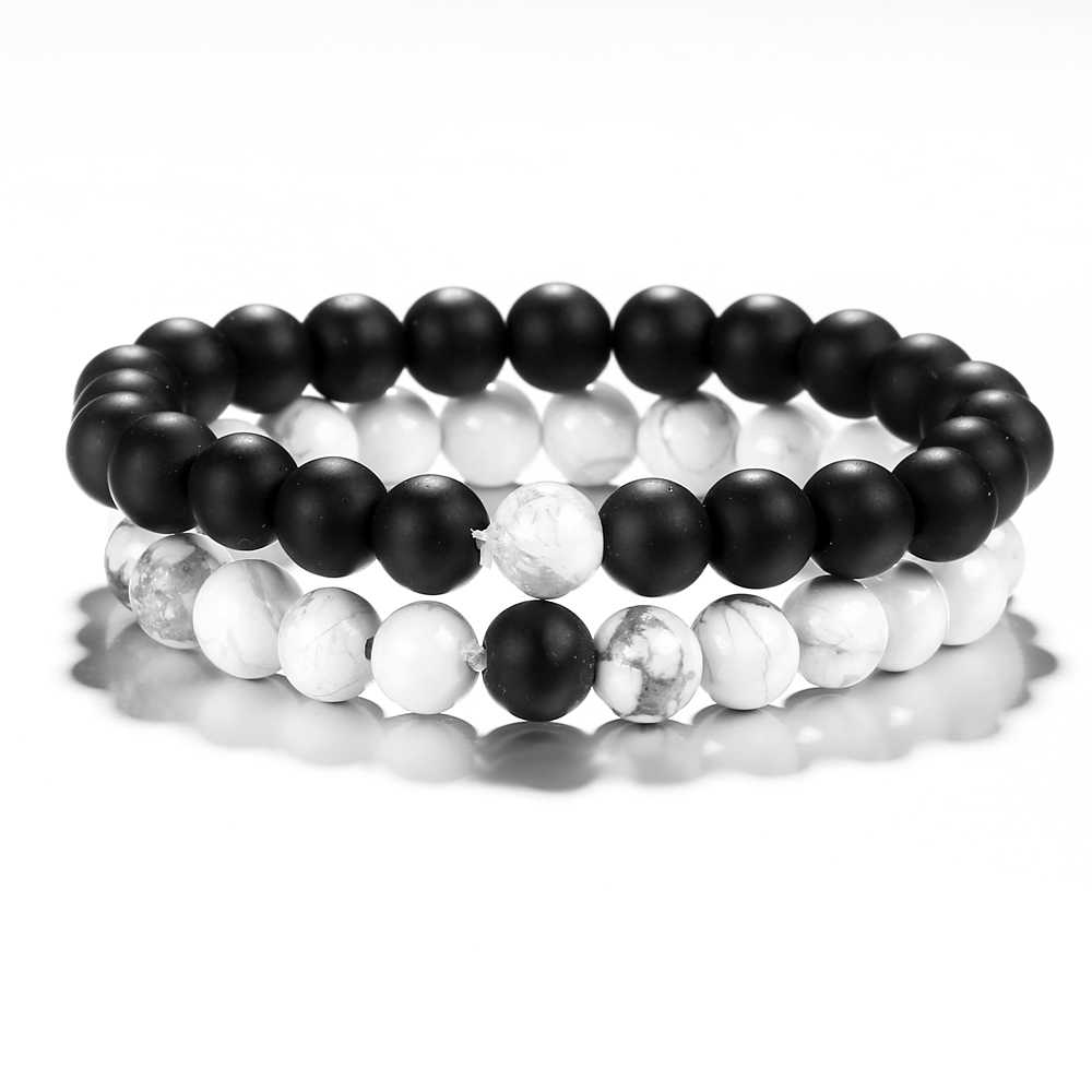 Hot Fashion Natural Stone Distance Bracelets For Women Men Classic Black and White Charm Beads Yoga Bracelet & Bangles Jewelry
