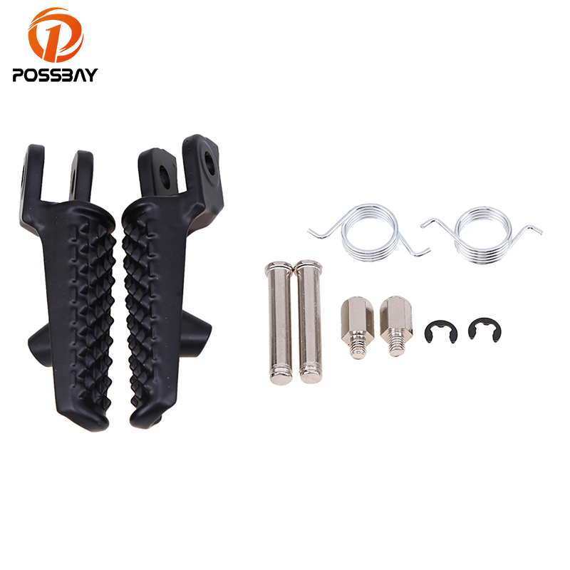 POSSBAY Motorcycle Front Rear Footrests Motocicleta Foot Pegs With Bracket Set Black/Chrome For Honda CBR600RR 2003 04 05 2006