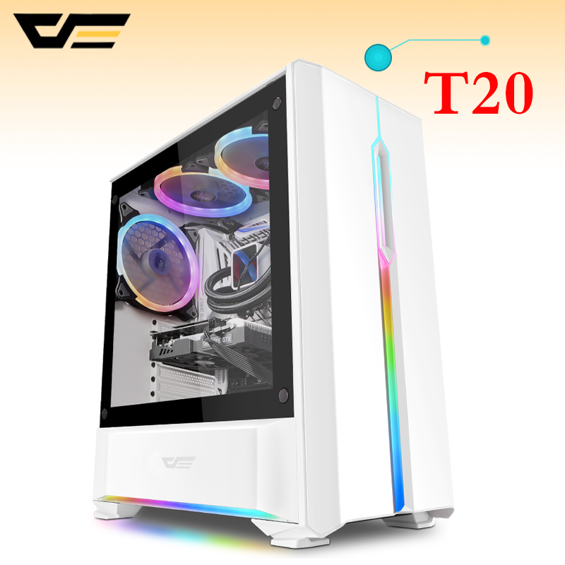 darkFla T20 Tempered Glass Computer Case for Home Office Gaming Desktop PC Computer Chassis Case ATX M-ATX ITX USB Computer Case computer case