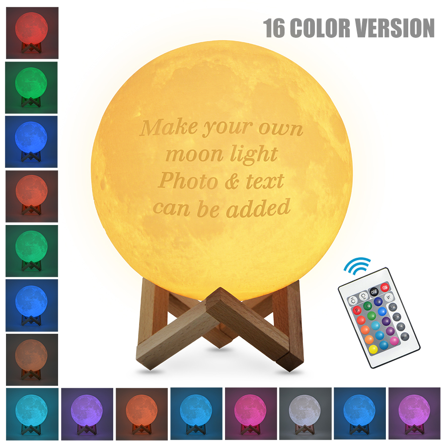 Customized 2/16 Colors 3D Printing Moon Night Light USB Charging Night Lamp Touch Novelty Home Decor Creative Gift