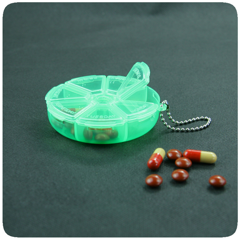 Portable Medicine Box 7 Days Weekly Pillbox Creative Rotating Pill Box Mini Plastic Storage Container Keychain Tablet Separator 3