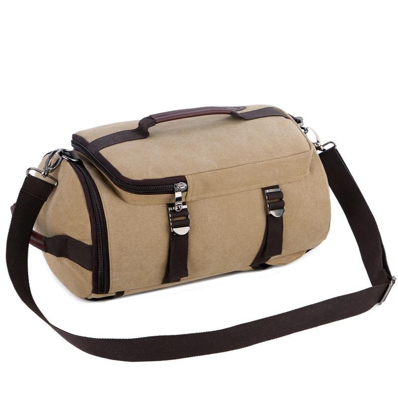 Men Canvas Gym Bag Cylindrical Bucket Training Backpack Rucksack Travel Luggage Gymnastics Blaso Outdoor Sac De Sport Tas XA103D