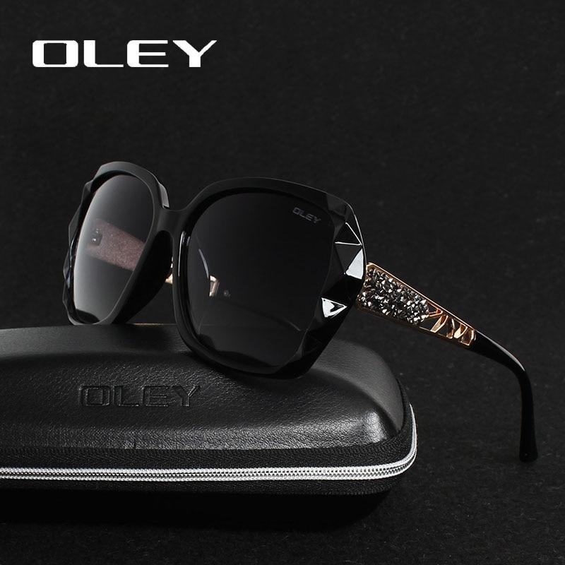 OLEY Pantas Sunglasses Wanita Mewah Rekabentuk Mewah Gelas Polarisasi Elegan Wanita Cermin mata Prismatik Oculos De Sol mulher