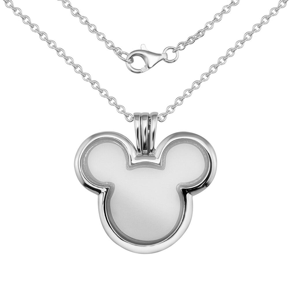 Authentique 925 bijoux en argent Sterling dessin animé souris médaillon flottant pendentif en argent et collier colliers de mode pour les femmes