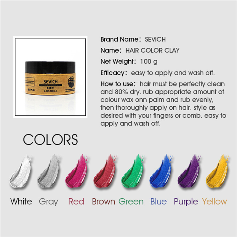 Mujeres Hombres coloración del cabello cera DIY arcilla del pelo ...