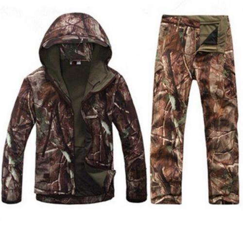 2Pcs Mens Hunting Camo Casual Waterproof Windbreak Warm Hooded Jacket & Pants 10Colors