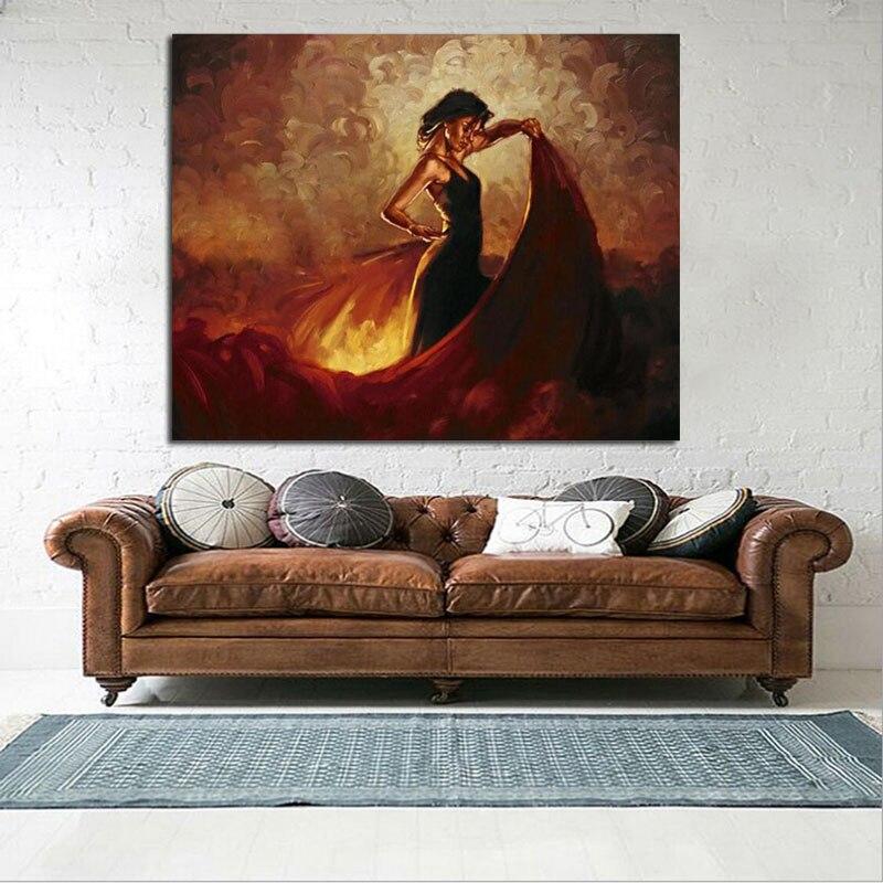 US $36.0 20% di SCONTO|Grande tela pittura a olio per la camera da letto  spagnolo ballerina di flamenco pop regalo di arte dipinta a mano astratta  ...