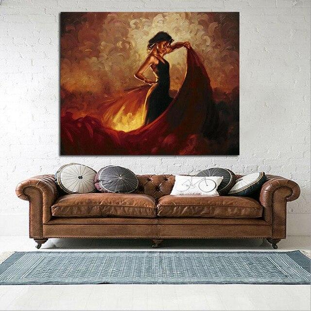 Grande tela pittura a olio per la camera da letto spagnolo ballerina ...