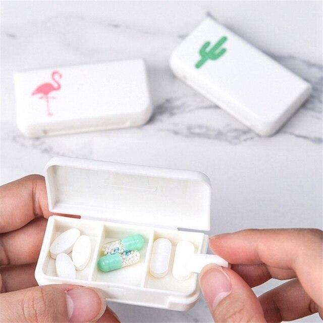 1 шт. простая пластиковая таблетница с рисунком, портативный медицинский набор, витамины, коробки, три сетки, ящик для хранения, фламинго, кактус, Декор