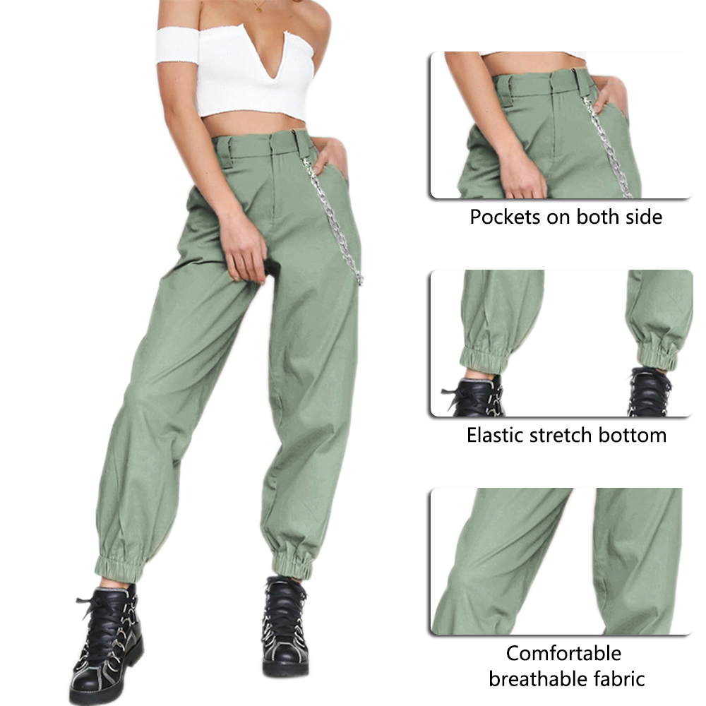 ADISPUTENT High Waist Pants Camouflage Loose Joggers Women Military Pants Streetwear Punk Cargo Pants Women Capris Trousers 25