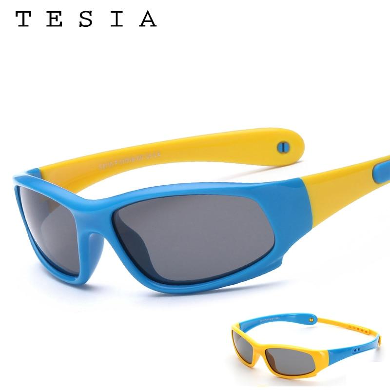 TESIA Gafas de sol Niños Diseñador de la marca Gafas de seguridad de silicona Gafas polarizadas para niños con banda S8110