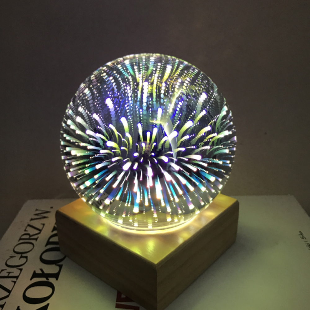 Starry Sky/Fireworks Wood Base 3d LED Night Light Magic Projector Ball Table Lamp USB Power Bedroom Home Decoration Desk Lamp