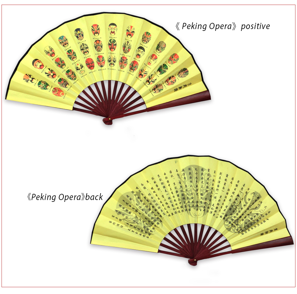 Chinese Men Vintage Silk Bamboo Folding Fan Classic Antique Hand ...