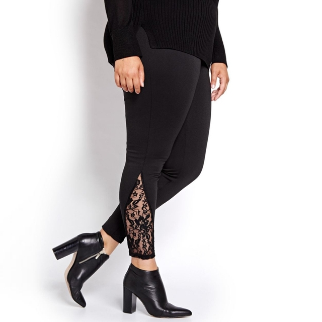 913292a39 Leggings Mulheres Nova Moda de Renda Preta Patchwork Básico de Fitness  Calças Jeggings Plus Size 3XL