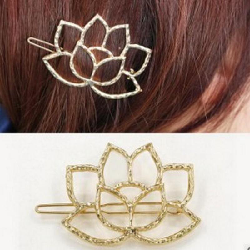 2017 New Fashion Heart Like Lotus Flowers Qingwen Art Metal Lotus Modeling Retro Hairpin Hair Clip Bridal Hair Jewelry Hair Pins