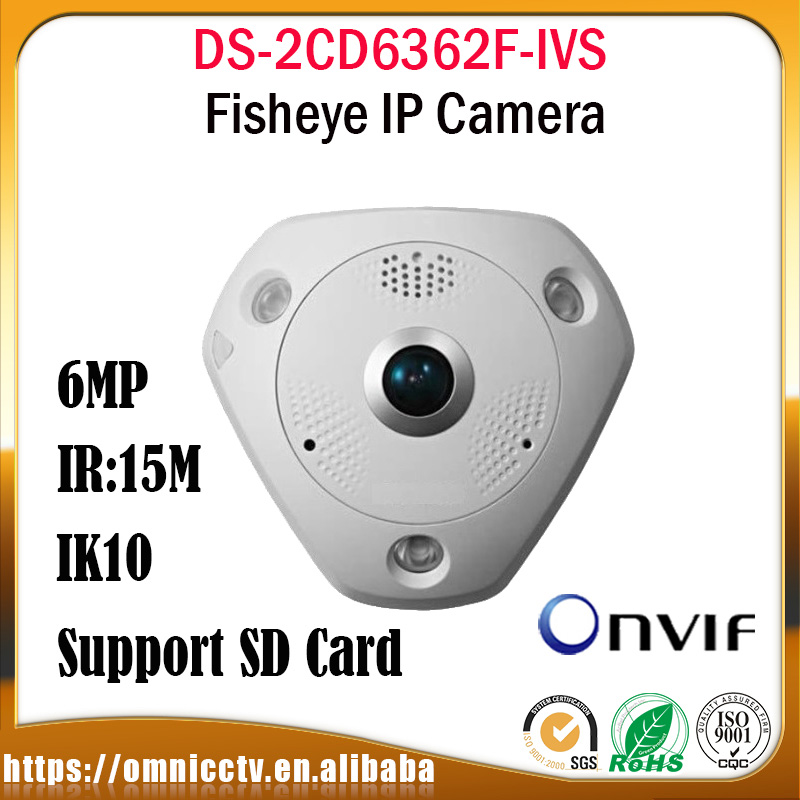 Hikvision Fisheye 6MP CCTV PoE PTZ Camera DS-2CD6362F-IVS 360 Degree View IR Built-in mic Night version Surveillance Camera a7220 usb built in mic 360° rotating web camera for pc laptop