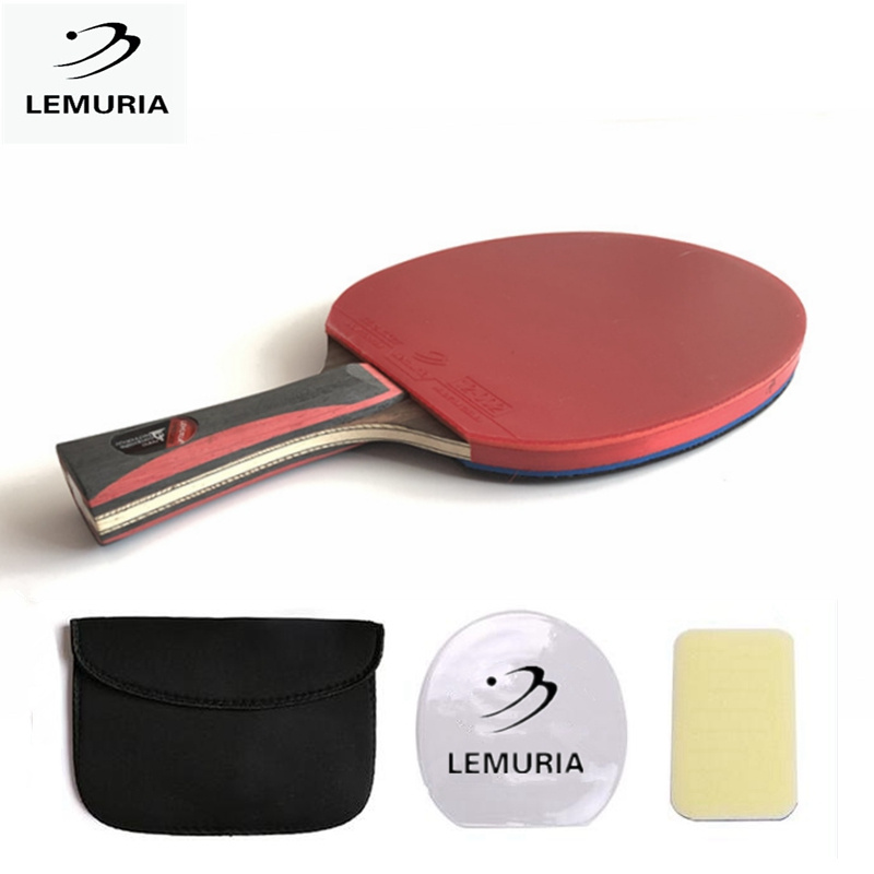 Lemuria Tennis table racket long handle short handle carbon blade rubber with double face pimples in