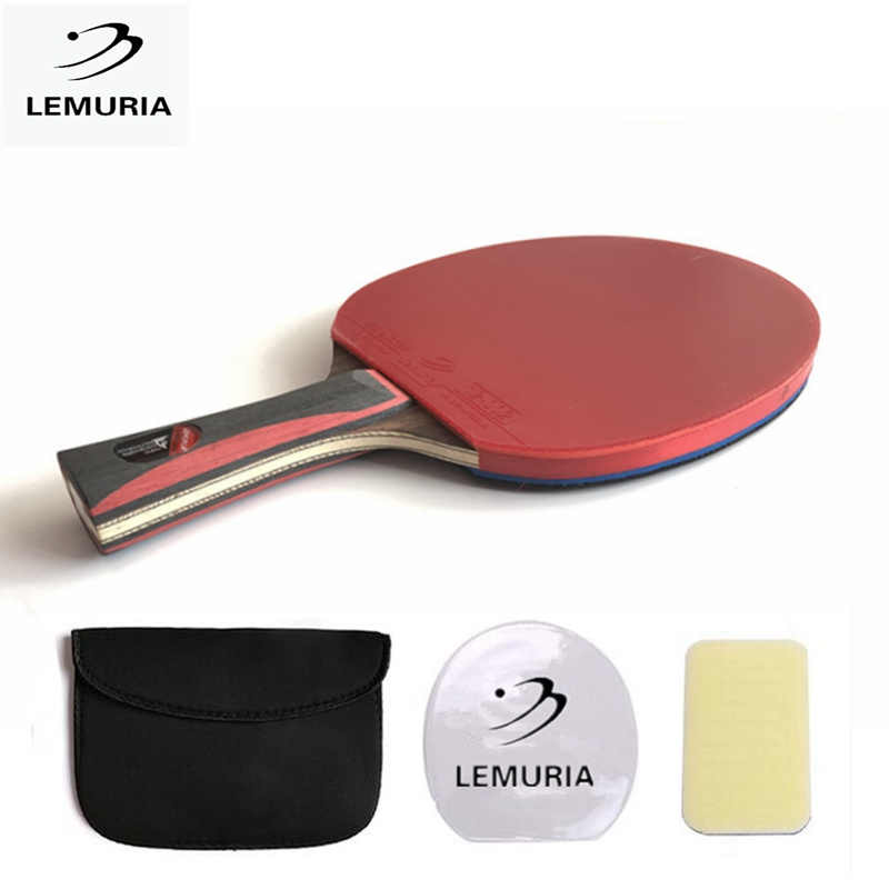 Lemuria Tennis table racket long handle short handle carbon blade rubber with double face pimples in ping pong rackets with case
