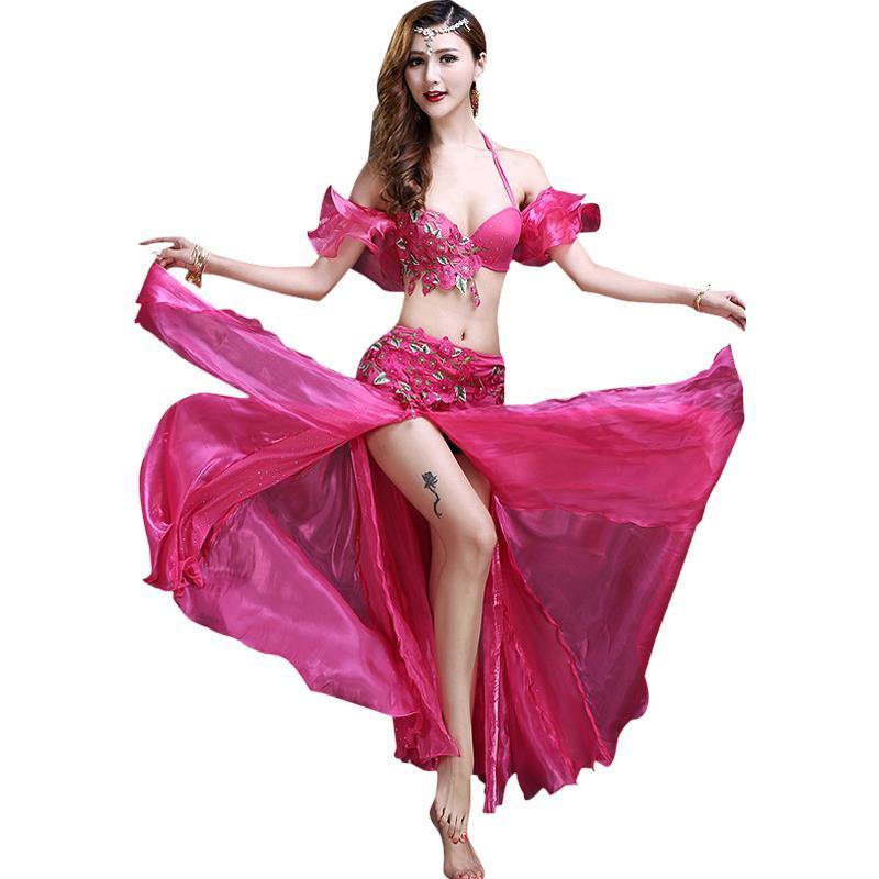 Costumes de danse du ventre femmes Costume de danse du ventre soutien-gorge ceinture longue jupe vêtements indiens danse exotique