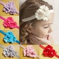 BABY GIRL HEADBAND 24pcs/lot 12colors 2015 NEW STOCK!!! handmade flower with elastic headband hair ornaments FREE SHIPPING