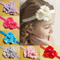 Venda del bebé 24 unids/lote 12 colores 2015 nuevas acciones! hechos a mano de la flor con venda elástico del pelo adornos envío gratis