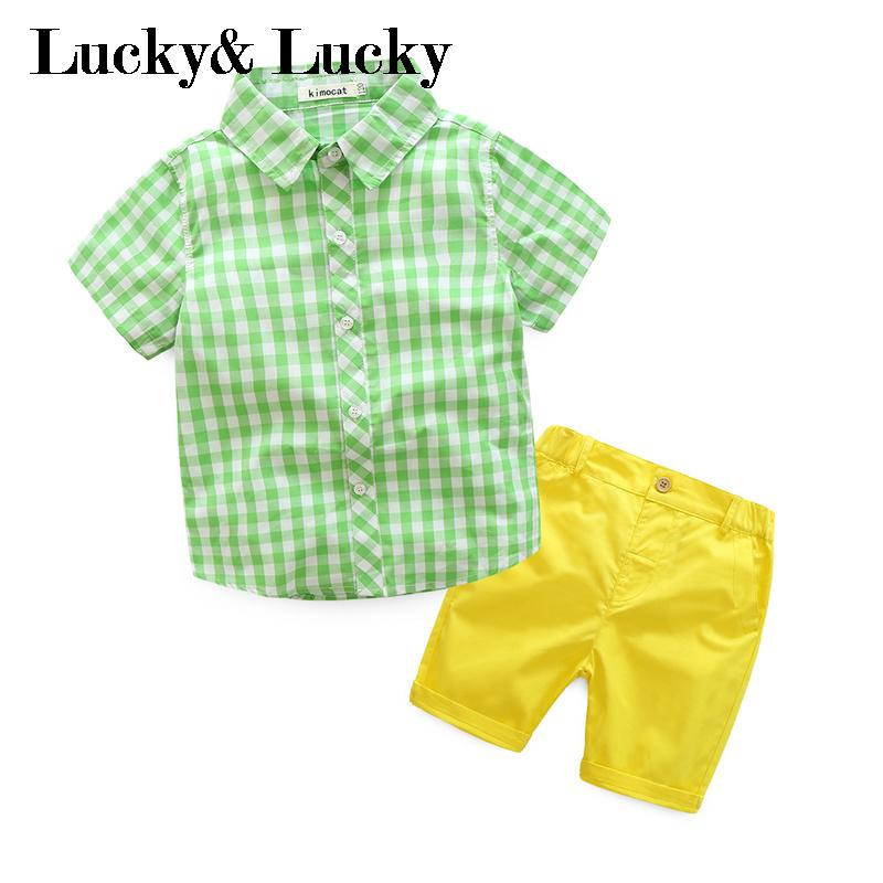 New kids clothes plaid short sleeve shirt+shorts candy color boys clothes 2pcs/set generic little boys 2 piece set of short sleeve t shirt and plaid shorts gray red