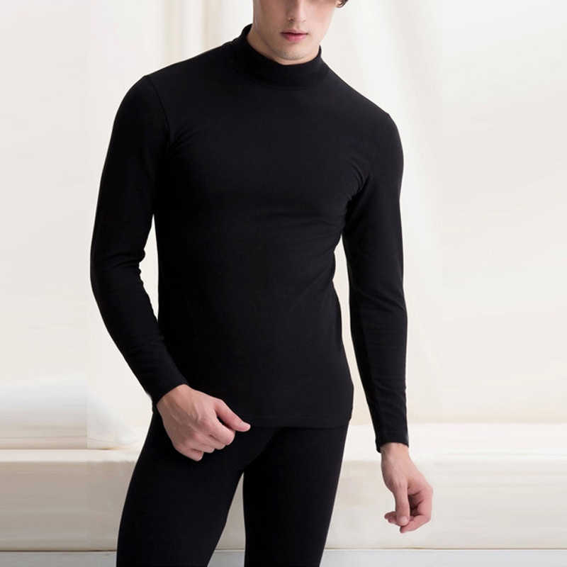 2019 New Fashion Male Thermal Underwear Men Long Autumn Winter Turtleneck Tops+Pants Set Warm Thick Tops Plus Size L-2X
