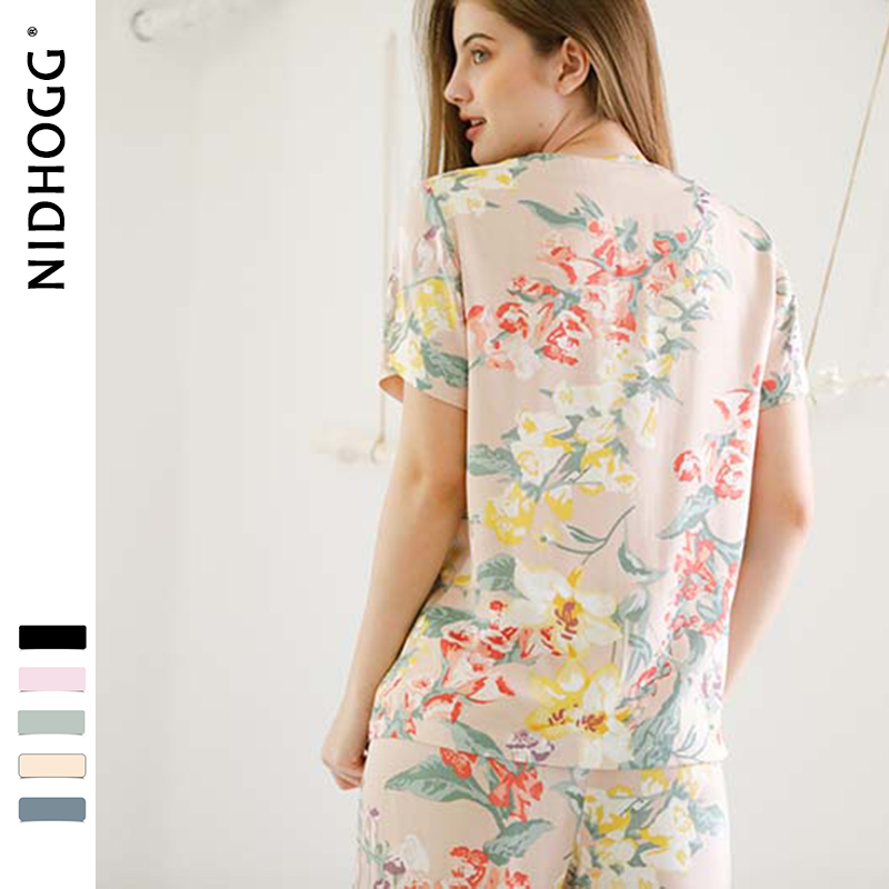 Image 5 - Summer New Elegant Flower Printing Satin Pajamas for Women Short Sleeve Trousers Sleepwear V Neck Sexy Casual Clothes 2 Suits-in Pajama Sets from Underwear & Sleepwears