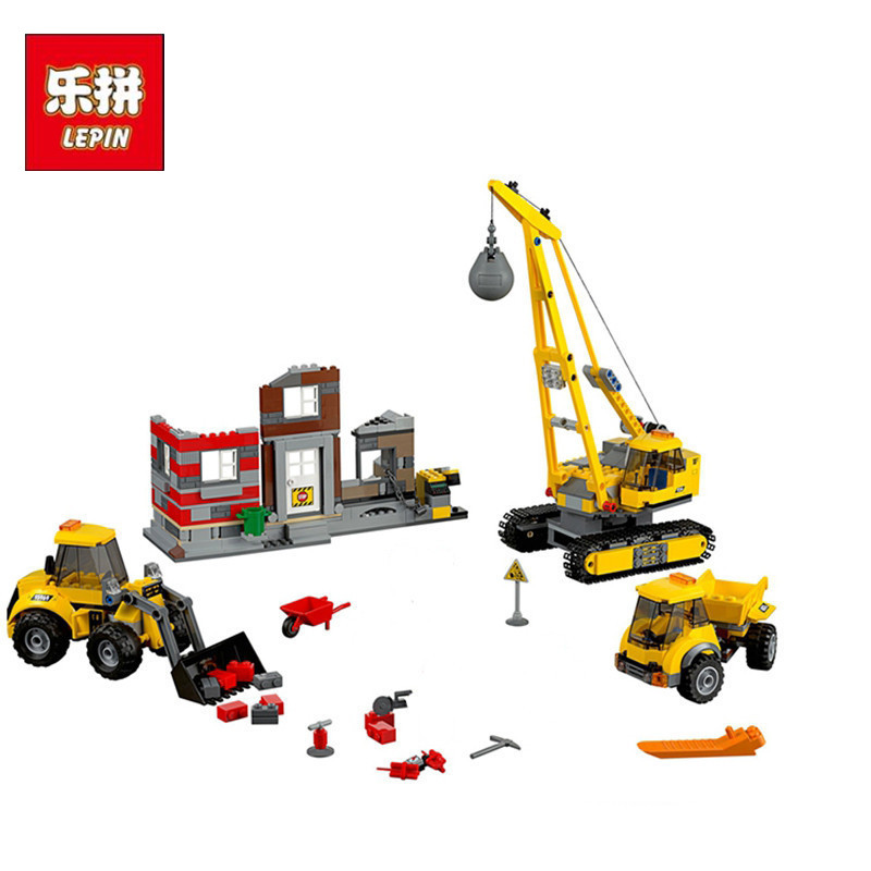 Lepin 02042 869pcs City Series Building Demolition Site Set Educational Building Blocks Bricks Toys for children gift lepin 02012 774pcs city series deepwater exploration vessel children educational building blocks bricks toys model gift 60095