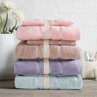 2pcs/set camel bamboo fiber towel set face towel 34*78cm +bath towel 140*70 solid purple cotton toalhas de banho home textile
