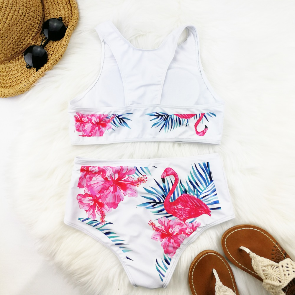bf773f67311fc High Waist Bikini Women Flamingo Print Swimwear High Neck Swimsuit Vest  Biquini Sport Bikinis Pineapple Bathing Suit Beachwear