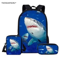 Twoheartsgirl dostosowane rekina plecak dla nastoletnich dziewcząt chłopców torby szkolne dla dzieci Kid lekki książka zestaw torba plecak szkolny 2