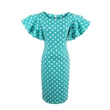 Vintacy Для женщин Bodycon Лепесток рукавом платье в синий горошек до колена Платья для женщин женские летние Винтаж Элегантный рюшами платье карандаша