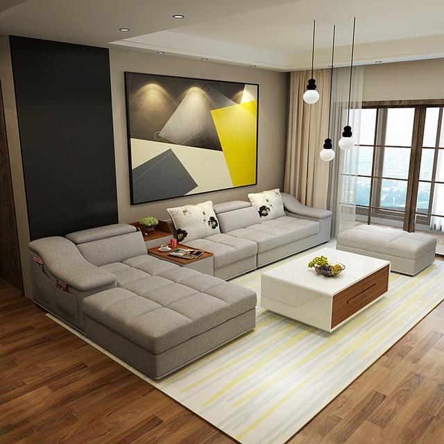 Woonkamer meubels moderne l vormige stof sofa set ontwerp banken ...