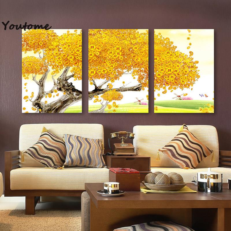 3 panel autumn tree canvas printings abstract oil painting wall art ...
