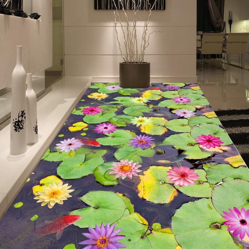 ФОТО Free Shipping High definition Lotus leaf 3d floor painting thickened non-slip restaurant living room bathroom flooring mural