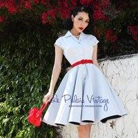 FREE SHIPPING Le palais limited edition vintage elegant light blue stripe buttons slim one piece dress