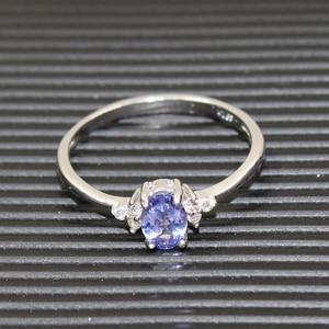 Image 5 - ファッションシルバー宝石結婚指輪女性のための 4*6 ミリメートル完璧な天然マリンタンザナイトシルバーリング固体 925 シルバータンザナイトリング