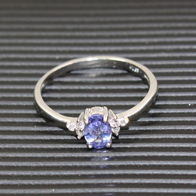 Fashion silver gemstone wedding ring for woman 4*6mm flawless natural tanzanite silver ring solid 925 silver tanzanite ring