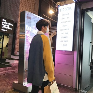 Image 4 - 2018 корейский стиль Новая мужская мода Сращивание Цвет Свободные повседневные пальто синий/хаки шерстяной пуловер Повседневный кашемировый свитер размер M XL