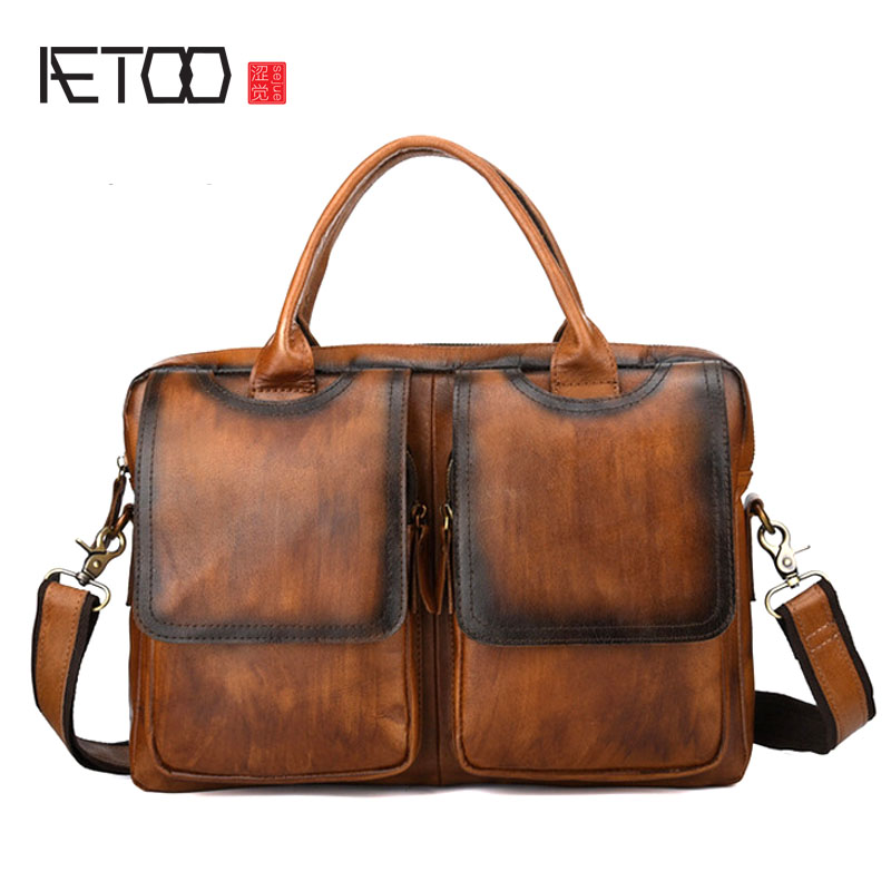 AETOO Leather retro first layer leather briefcase men's leather men's bag handbag cross section business bag shoulder Messenger aetoo first layer of leather foreign trade shoulder oblique cross package leather square notebook handbag business briefcase men
