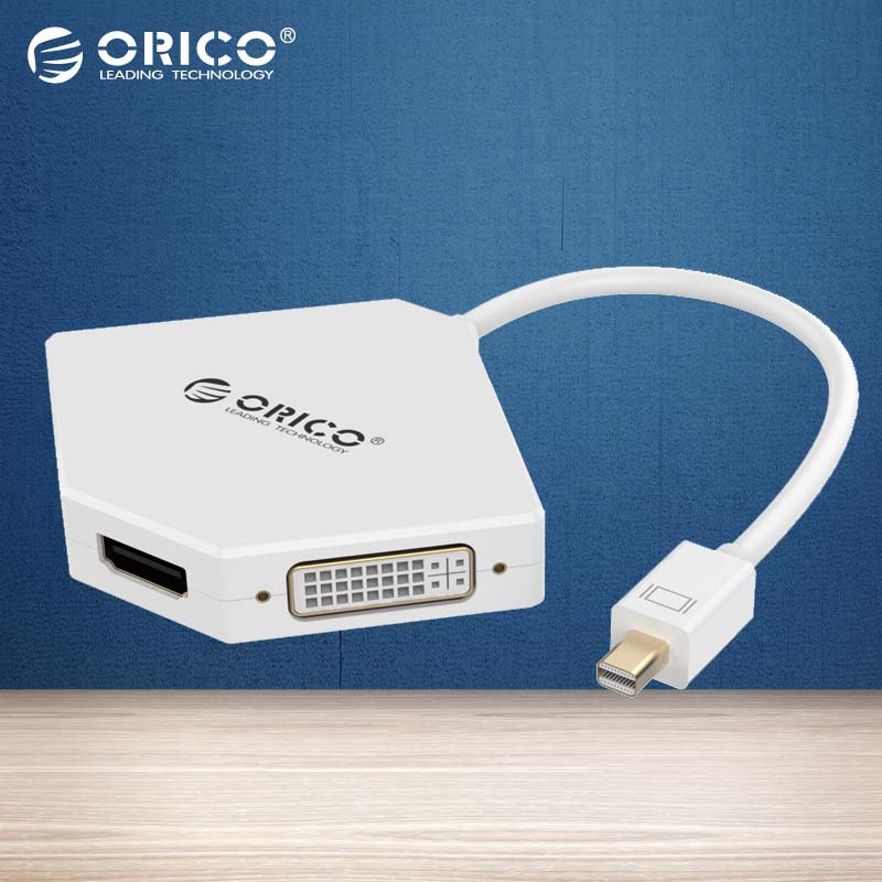 ORICO DMP-HDV3-WH MINI DP To HDMI DVI VGA Adapter To Thunderbolt Cable DisplayPort Display Port for Apple MacBook Air Prot