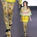 Moda tendência nacional de impressão espessamento meia-calça meias femininas das mulheres da menina collants